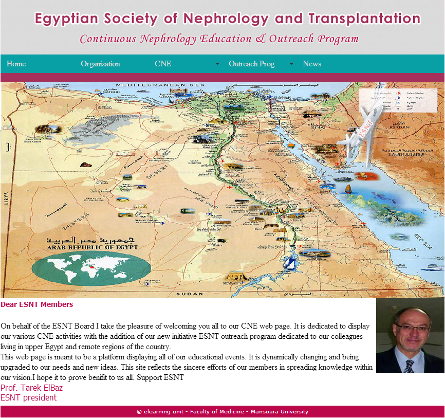 Egyptian Society of Nephrology  and transplantation Continuous Nephrology Education & Outreach Program